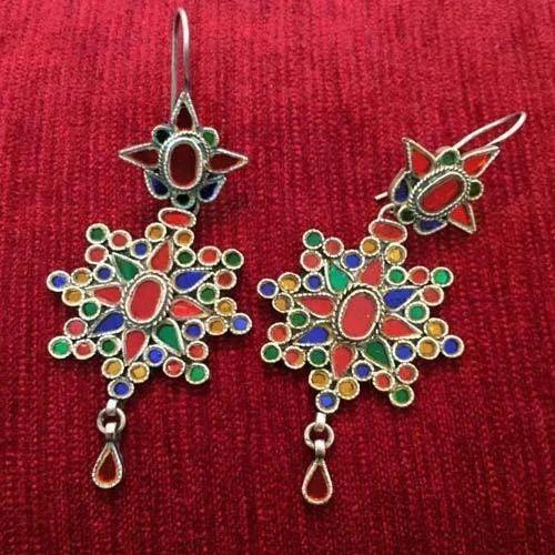 Ethnic Silver Gl Work Earrings