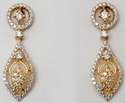 Valentine Designer Diamond Studded Pear Shaped Drop Earrings