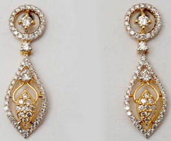 Designer Diamond Studded Pear Shaped Drop Earrings