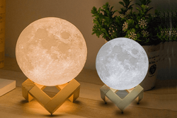 Antifiction 3D Printed Moon Lamp Night Light Lunar LED 16 Colours Remote Beat Mode Touch Ctrl (18cm)