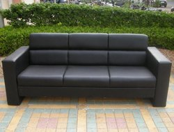 3 Seater Black Rexine Office Sofa