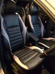 Leather & Velvet White , Red Premium Car Seat Cover Pattern