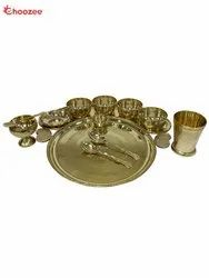 Choozee Gold Brass Maharaja Thali Set (12 Pcs), For Hotel & Restaurant