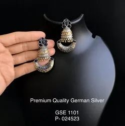 Brass Post and back German Silver Earrings, Size: 2.1 Inch