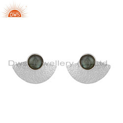 Labradorite Gemstone Texture Fine Silver Womens Stud Earrings