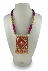 Red Beaded Kundan Polki Set