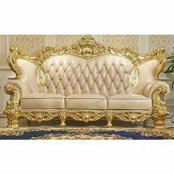 Brown Teak Wooden Furniture Sofa Set