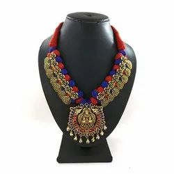 Meenakari Kolhapuri Multicolor Threaded Necklace