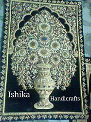 Mughal Gold Zari Hand Embroidered Wall Hanging