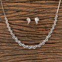 White Cz Delicate Necklace With Rhodium Plated 406632, Size: Regular