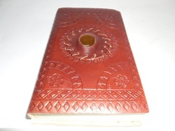 Sun Bound Handmade Leather Journal with Stone