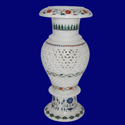 Home Decoration White Marble Inlay Flower Vase