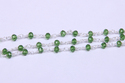 Green Tourmaline Glass Rosary Style Beaded Chain