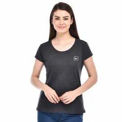 Half Sleeve Antra Melange Girls Cotton T-Shirt