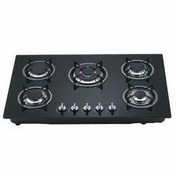 Glass Black 5 Burner Gas Stove, For Kitchen