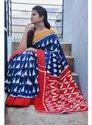 Red And Blue Casual Printed Linen Saree With Blouse Piece, Length: 6 M