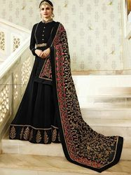 c00610ad16d Yoyo Designer Faux Georgette Black Embroidered Anarkali Salwar Suit