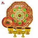 Nutristar Brass Meenakari Hexagon Plate And Bowl With Gandham Ginni And Deepam