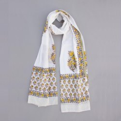 Women Summer Cotton Block Floral White Base Yellow Print Dupatta Jaipuri Print Stole