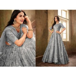 Semi-Stitched Churidar Heavy Bridal Wear Net Embroideried Worked Anarkali Salwar Suit, Dry clean