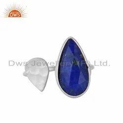 Sterling Fine Silver Designer Lapis Lazuli Gemstone Rings