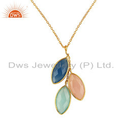 Designer Gold Plated 925 Silver Three Gemstone Chain Pendant