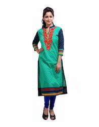 V Neck Embroidered Floral Printed Green Ladies Kurti