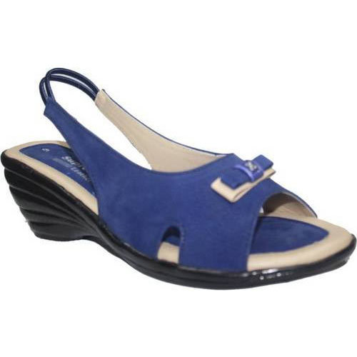 becbb1bdc11 Supreme Leather Women Blue Wedges Sandals
