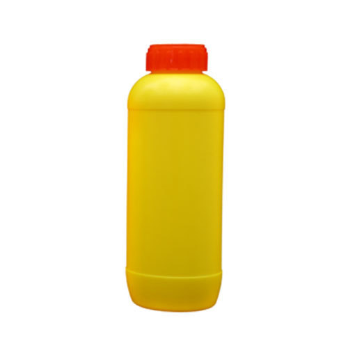 Yellow Round Emida Shaped Pesticides HDPE Bottle, Capacity: 1 Litre, Screw Cap