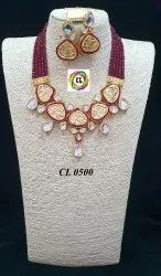 Cl Jewelry Designer Mirror Kundan And Onyx Beads Costume Fashion Jewellery Necklace Earrings Set