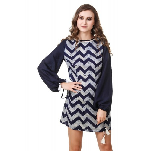 Rayon Blue Printed Mini Dress For Women