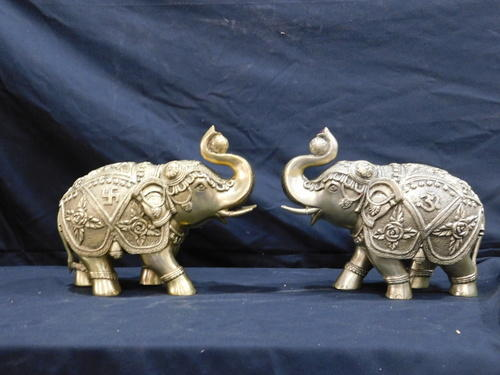 Brass Handicraft Elephant Pair For Home Decor