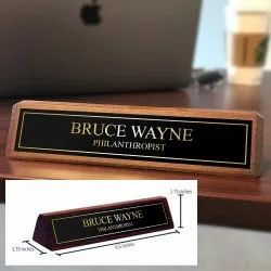 Rectangular Acrylic Desk Name Plate for Office, Size/Dimension: 2.75x8.5x1.75 Inch