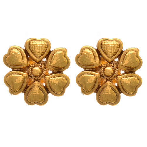 Gold Jfl Traditional Ethnic Plated Designer Stud Earring