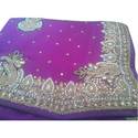 Ladies Georgette Party Wear Fancy Saree With Blouse Piece