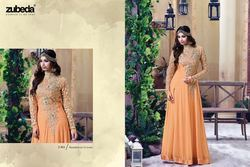 Orange Color Georgette Embroidered Designer Anarkali Suit