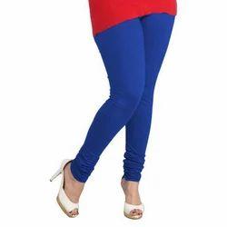 Mid Waist Lux Lyra Blue Churidar Leggings, Slim Fit