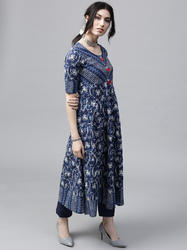 BLUE & WHITE FLORAL PRINTED ANARKALI