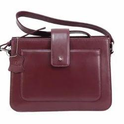 Ladies Maroon Leather Hand Bag, Yes