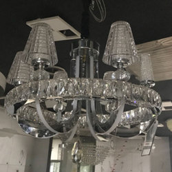 Antique Glass and Stainless Steel (Frame) Crystal Chandeliers, For Decoration Purpose