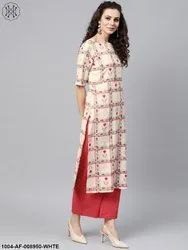 Nayo White Checked Printed Straight Kurta Set