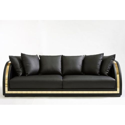 Black Leather Two Seater Sofa ट स टर स फ द
