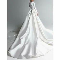 Semi-Stitched Silk Ladies Bridal Gown