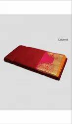 Printed Party Wear Ladies Zari Border Kora Cotton Saree, Length: 6.3 m (with Blouse Piece)