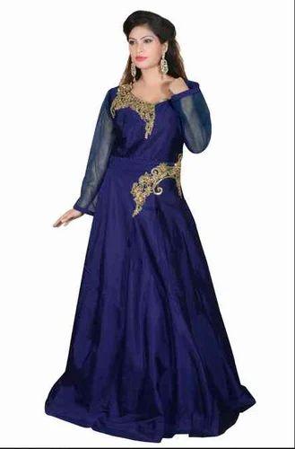 Navi Blue Raw Silk Gown Side Work Rental Service Silk Ka Gown