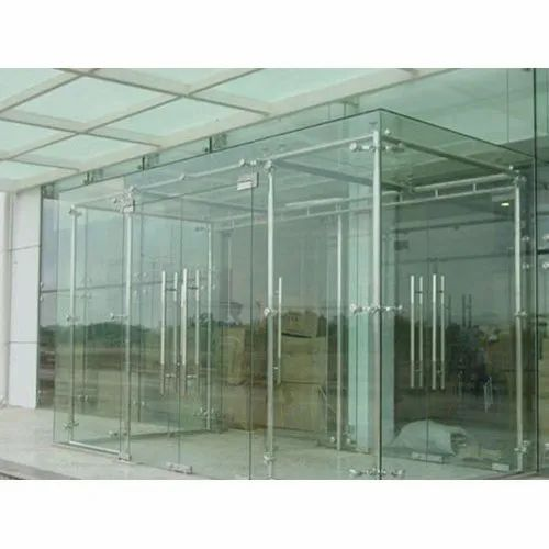 Transparent Sight Glass Door Partition Toughened Glass, Thickness: 16.0 mm, Shape: Flat