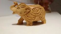 Wooden Elephant Statue Up Trunk Carving
