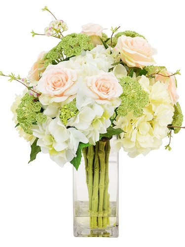 259 & Artificial Flowers Arrangement In Glass Vase
