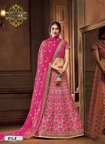 59d9bd1b4a5 Bridal Half Sleeves Pink Embroidery Lehenga Choli
