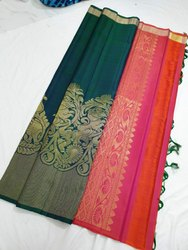 80109fc73d Bridal Wear Kanchipuram Silk Saree, 5.5 m (separate blouse piece), With  Blouse